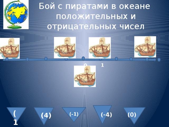 Бой с пиратами в океане положительных и отрицательных чисел 1 0 (1) (4) (-1) (-4) (0)