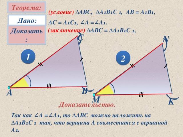 Теорема: (условие) ∆АВC, ∆А₁В₁С ₁, АВ = А₁В₁, АС = А₁С₁, ∠А =∠А₁. Дано: Доказать: (заключение) ∆АВC = ∆А₁В₁С ₁, С N 1 2 В А M K Доказательство. Так как ∠А =∠А₁, то ∆АВC можно наложить на ∆А₁В₁С ₁ так, что вершина А совместится с вершиной А ₁.