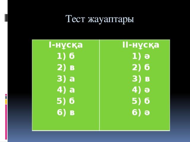 Тест жауаптары I-нұсқа 1) б II-нұсқа  1) ә  2) б  3) в  4) ә  5) б  6) ә 2) в 3) а 4) а 5) б 6) в