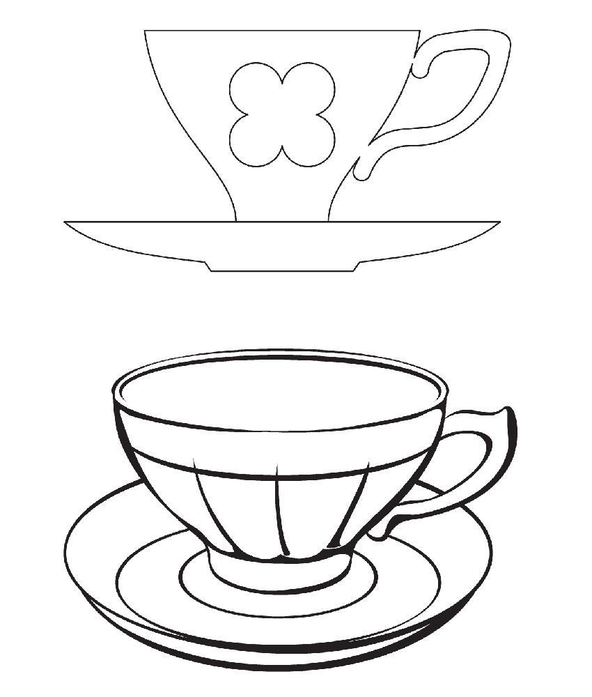 раскраска чайная пара чашка и блюдце чёрном списке