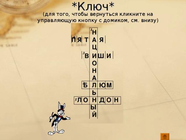 *Ключ* (для того, чтобы вернуться кликните на управляющую кнопку с домиком, см. внизу) Н А Я П Т Я Ц И Ш В И О Н А Л М Ю Б Ь Н О Н Л Д О Ы Й