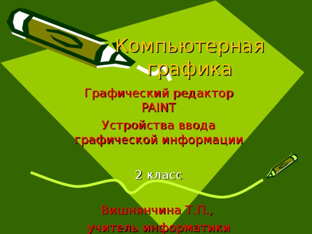 Компьютерная графика Графический редактор PAINT Устройства ввода графической информации 2 класс Вишнянчина Т.П., учитель информатики