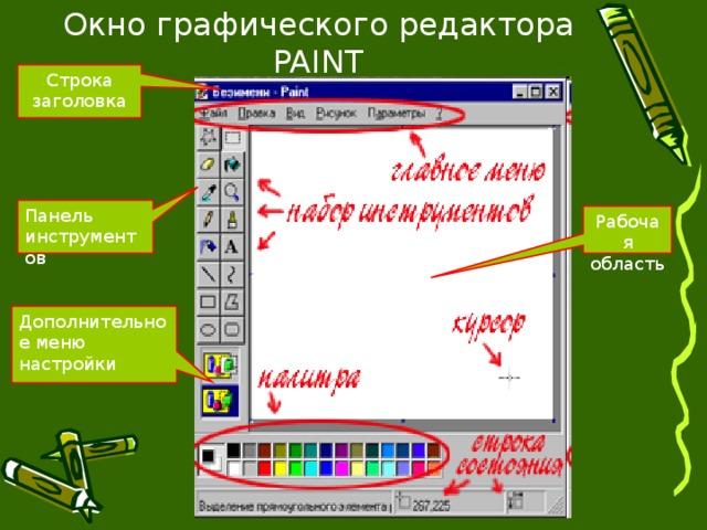 Окно графического редактора PAINT Строка заголовка Панель инструментов Рабочая область Дополнительное меню настройки