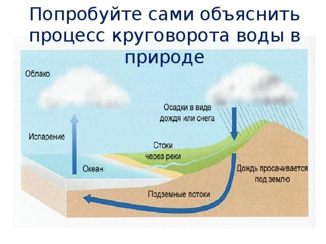 Попробуйте сами объяснить процесс круговорота воды в природе