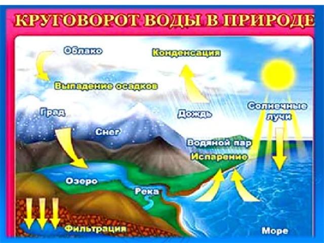Схема круговорота воды в природе.