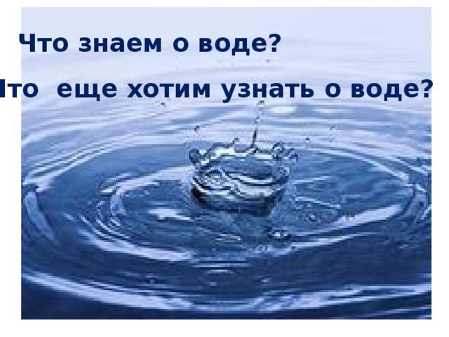 Что знаем о воде? Что еще хотим узнать о воде?
