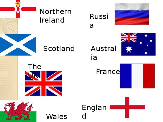 Northern Ireland Russia Australia Scotland The UK France England Wales