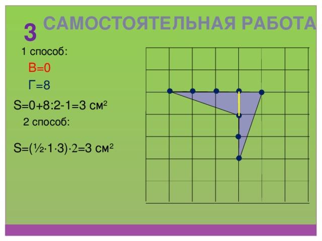 Самостоятельная работа 3 1 способ: В=0 Г=8 S=0+8:2-1=3 см 2 2 способ: S=(½ ∙ 1 ∙ 3) ∙2 =3 см 2