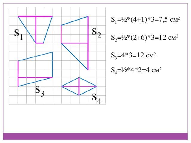 S 1 =½*(4+1)*3=7,5 см 2 s 2 s 1 S 2 =½*(2+6)*3=12 см 2 S 3 =4*3=12 см 2 S 4 =½*4*2=4 см 2 s 3 s 4