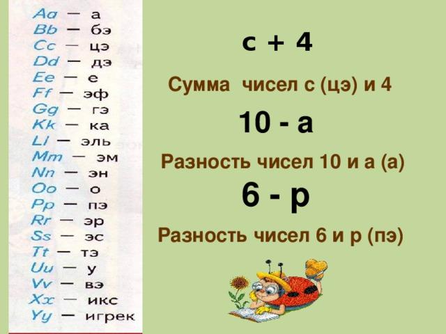 с + 4 Сумма чисел с (цэ) и 4 10 - а Разность чисел 10 и а (а) 6 - р Разность чисел 6 и р (пэ)