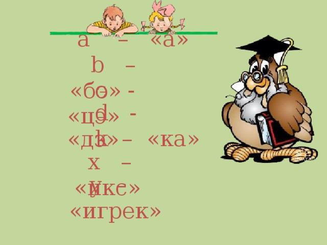 a  –   «а»  b – «бэ»  с - «цэ»  d - «дэ»  k – «ка»  х – «икс»   y – «игрек»