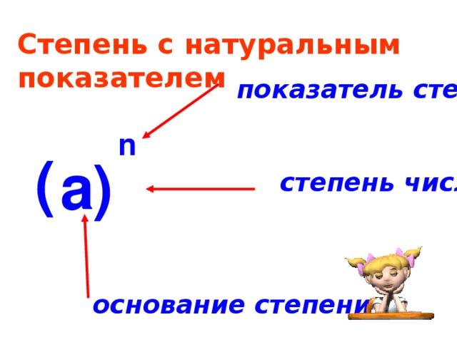 Степень с натуральным показателем показатель степени n ( а ) степень числа основание степени