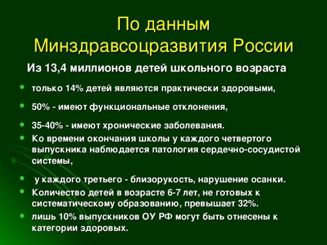 По данным Минздравсоцразвития России  Из 13,4 миллионов детей школьного возраста
