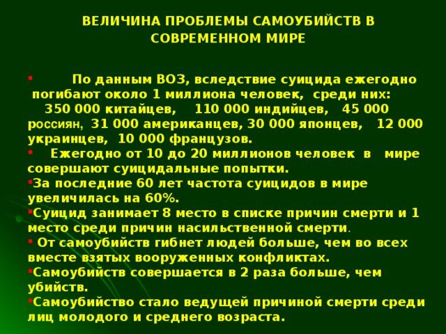 ВЕЛИЧИНА ПРОБЛЕМЫ САМОУБИЙСТВ В СОВРЕМЕННОМ МИРЕ   По данным ВОЗ, вследствие суицида ежегодно  погибают около 1 миллиона человек, среди них:   350 000 китайцев , 110 000 индийцев, 4 5 000 р оссиян ,   31 000 американцев, 30 000 японцев,  12 000 украинцев,  10 000 французов.  Ежегодно от 10 до 20 миллионов человек в мире совершают суицидальные попытки.  За последние 60 лет частота суицидов в мире увеличилась на 60%. Суицид занимает 8 место в списке причин смерти и 1 место среди причин насильственной смерти .  От самоубийств гибнет людей больше, чем во всех вместе взятых вооруженных конфликтах. Самоубийств совершается в 2 раза больше, чем убийств.   Самоубийство стало ведущей причиной смерти среди лиц молодого и среднего возраста.