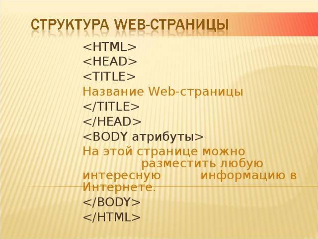 Название Web-страницы     На этой странице можно разместить любую интересную информацию в Интернете.