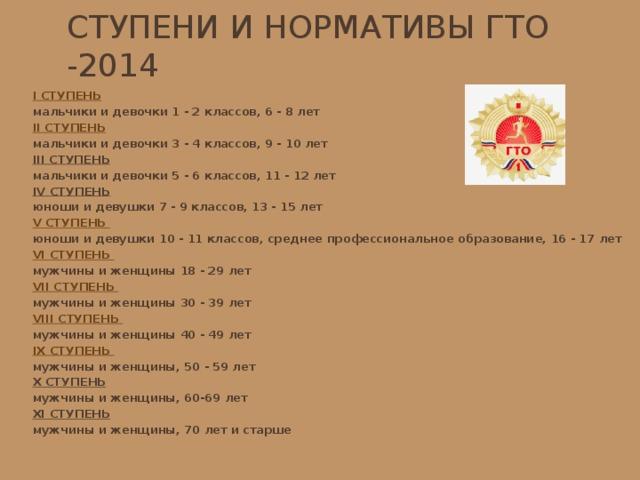 Ступени и нормативы ГТО -2014