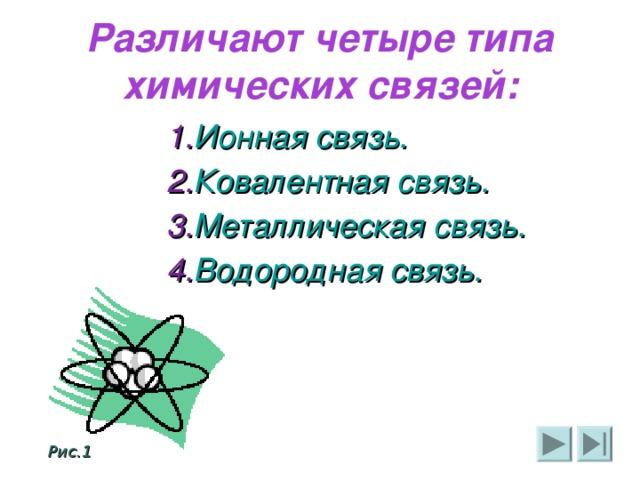 Различают четыре типа химических связей: Ионная связь. Ковалентная связь. Металлическая связь. Водородная связь. Ионная связь. Ковалентная связь. Металлическая связь. Водородная связь. Ионная связь. Ковалентная связь. Металлическая связь. Водородная связь. Ионная связь. Ковалентная связь. Металлическая связь. Водородная связь. Ионная связь. Ковалентная связь. Металлическая связь. Водородная связь.                Рис.1