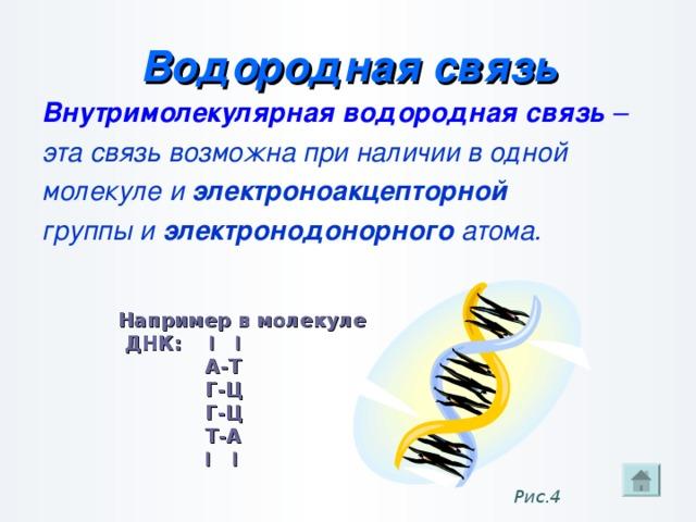 Водородная связь Внутримолекулярная водородная связь – эта связь возможна при наличии в одной молекуле и электроноакцепторной группы и электронодонорного атома.   Например в молекуле  ДНК: І І  А-Т  Г-Ц  Г-Ц  Т-А  І І Рис.4