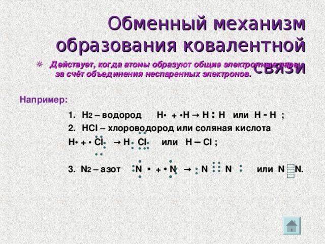 •• •• •• •• •• •• •• ••• ••• •• ••  Обменный механизм образования ковалентной связи ☼ Действует, когда атомы образуют общие электронные пары за счёт объединения неспаренных электронов. ☼ Действует, когда атомы образуют общие электронные пары за счёт объединения неспаренных электронов.  Например:  Н 2 – водород Н • +  • Н → Н ׃  Н или Н - Н ; Н Cl – хлороводород или соляная кислота Н 2 – водород Н • +  • Н → Н ׃  Н или Н - Н ; Н Cl – хлороводород или соляная кислота Н 2 – водород Н • +  • Н → Н ׃  Н или Н - Н ; Н Cl – хлороводород или соляная кислота Н 2 – водород Н • +  • Н → Н ׃  Н или Н - Н ; Н Cl – хлороводород или соляная кислота  Н • + • Cl → Н  Cl или H – Cl ;    3. N 2 – азот N  • + •  N → N  N или N N .     Н • + • Cl → Н  Cl или H – Cl ;    3. N 2 – азот N  • + •  N → N  N или N N .     Н • + • Cl → Н  Cl или H – Cl ;    3. N 2 – азот N  • + •  N → N  N или N N .     Н • + • Cl → Н  Cl или H – Cl ;    3. N 2 – азот N  • + •  N → N  N или N N .    •• •• • • • •