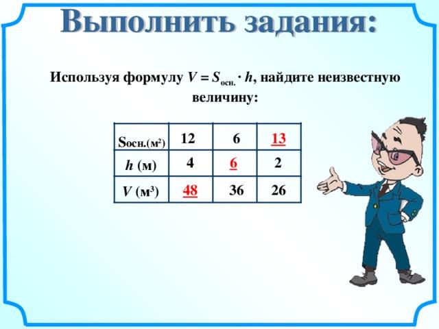 Используя формулу V =  S осн. ·  h , найдите неизвестную величину: 13 1 2 6 S осн. ( м 2 ) 6 2 4 h ( м) 48 36 26 V ( м 3 )