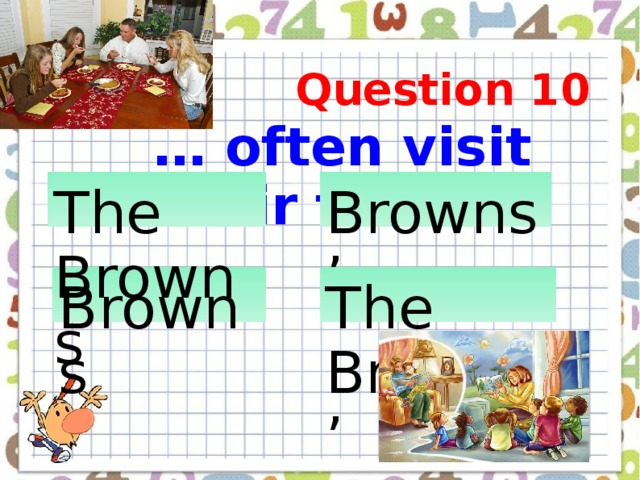 … often visit their friends  Question 10 The Browns  Browns'  Browns  The Browns'