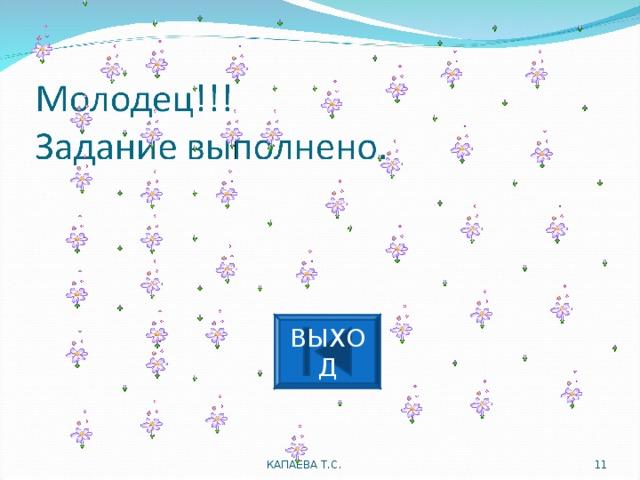 ВЫХОД КАПАЕВА Т.С.