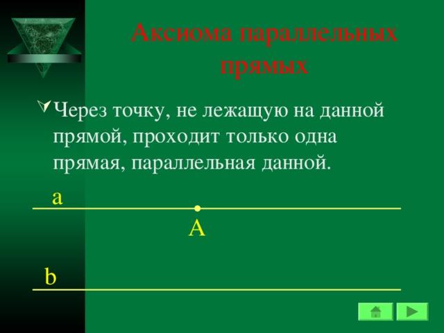 Аксиома параллельных прямых Через точку, не лежащую на данной прямой, проходит только одна прямая, параллельная данной. а А b