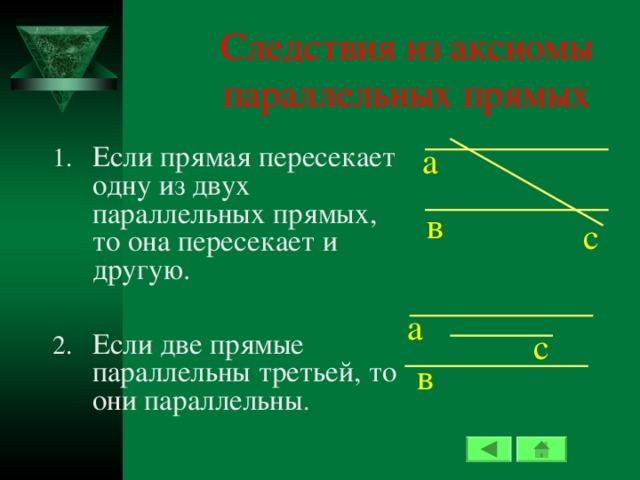 Следствия из аксиомы параллельных прямых Если прямая пересекает одну из двух параллельных прямых, то она пересекает и другую.  Если две прямые параллельны третьей, то они параллельны а в c а c в