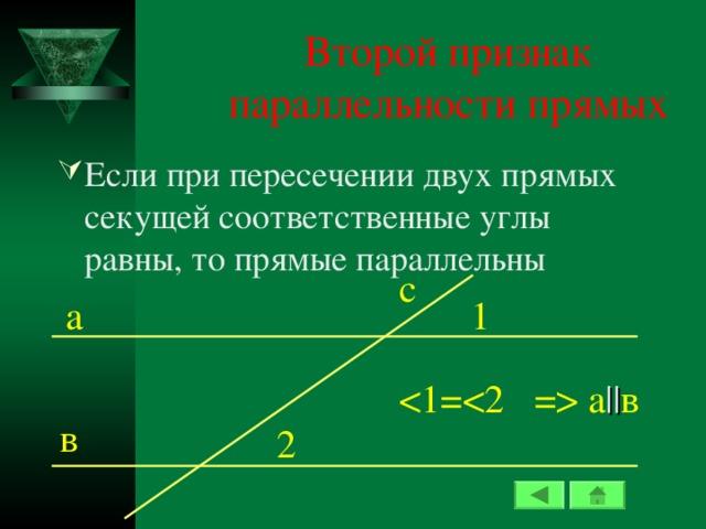 Второй признак параллельности прямых Если при пересечении двух прямых секущей соответственные углы равны, то прямые параллельны c 1 а  а || в в 2