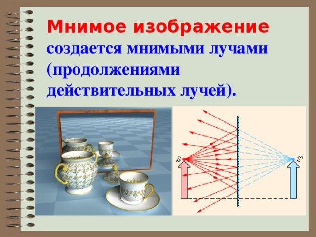 Мнимое изображение создается мнимыми лучами (продолжениями действительных лучей).