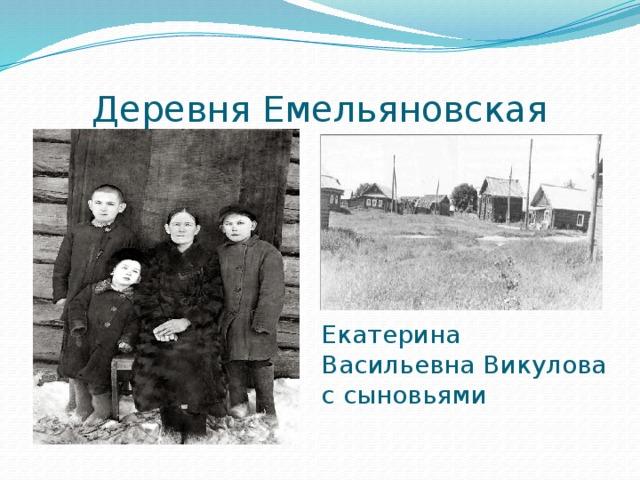 Деревня Емельяновская Екатерина Васильевна Викулова с сыновьями
