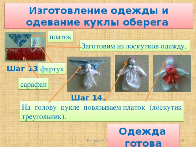 Изготовление одежды и одевание куклы оберега платок Заготовим из лоскутков одежду. фартук Шаг 13. сарафан Шаг 14. На голову кукле повязываемплаток (лоскутик треугольник).  Одежда готова  Капаева Т.С.