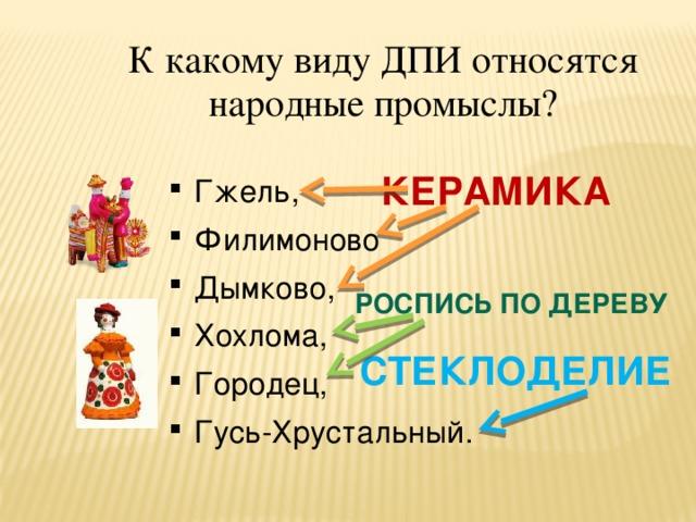 К какому виду ДПИ относятся народные промыслы? КЕРАМИКА Гжель, Филимоново Дымково, Хохлома, Городец, Гусь-Хрустальный. РОСПИСЬ ПО ДЕРЕВУ СТЕКЛОДЕЛИЕ
