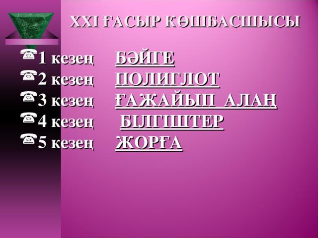 XXI ҒАСЫР КӨШБАСШЫСЫ