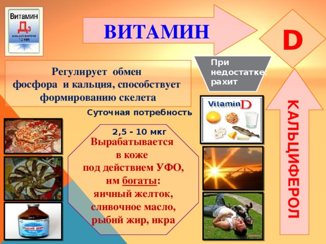 КАЛЬЦИФЕРОЛ ВИТАМИН  D При недостатке: рахит Регулирует обмен фосфора и кальция, способствует формированию скелета Суточная потребность  2,5 - 10 мкг Вырабатывается в коже под действием УФО, им богаты : яичный желток, сливочное масло, рыбий жир, икра