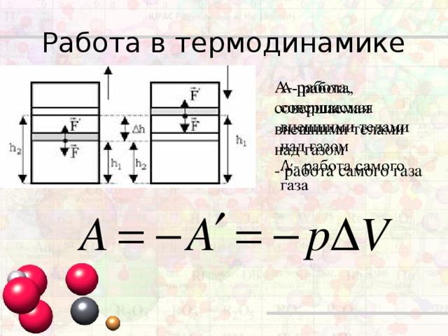 Работа в термодинамике А- работа, совершаемая внешними телами над газом  - работа самого газа