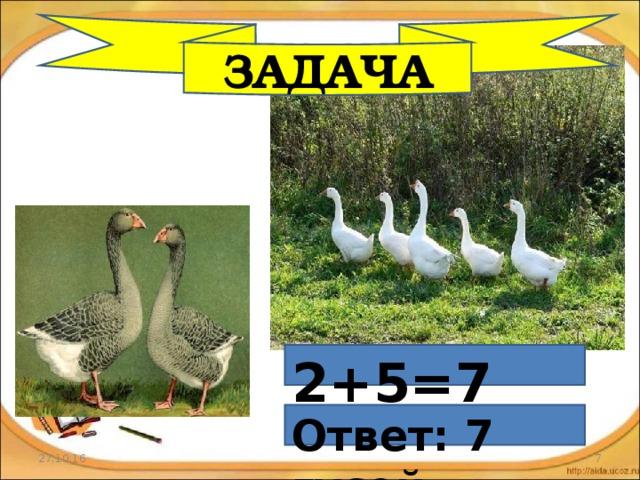 ЗАДАЧА 2+5=7 Ответ: 7 гусей 27.10.16