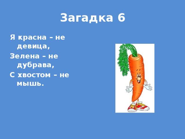 Загадка 6 Я красна – не девица, Зелена – не дубрава, С хвостом – не мышь.