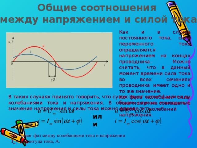 Общие соотношения между напряжением и силой тока Как и в случае постоянного тока, сила переменного тока определяется напряжением на концах проводника. Можно считать, что в данный момент времени сила тока во всех сечениях проводника имеет одно и то же значение. Но фаза колебаний силы тока может не совпадать с фазой колебаний напряжения. В таких случаях принято говорить, что существует сдвиг фаз между колебаниями тока и напряжения. В общем случае мгновенное значение напряжения и силы тока можно определить: или φ – сдвиг фаз между колебаниями тока и напряжения I m – амплитуда тока, А.