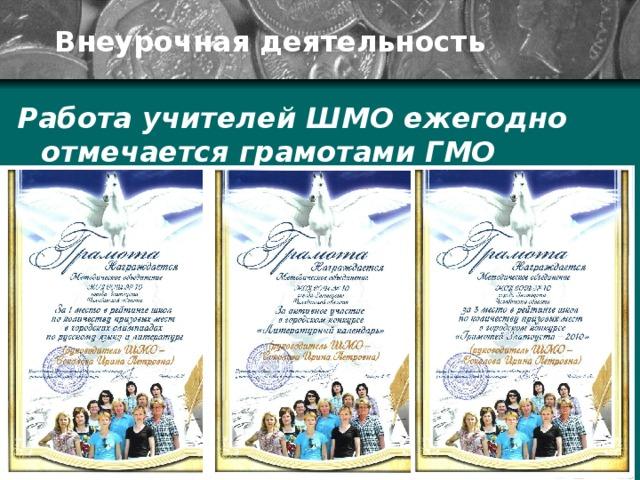 Внеурочная деятельность Работа учителей ШМО ежегодно отмечается грамотами ГМО
