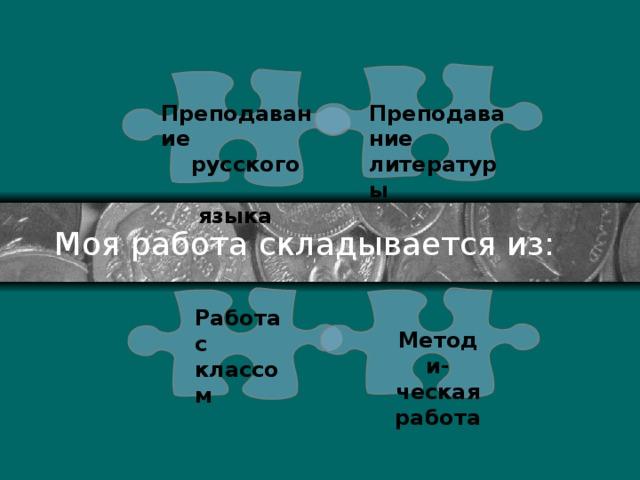 Преподавание Преподавание  русского литературы  языка Моя работа складывается из: Работа с классом Методи-ческая работа