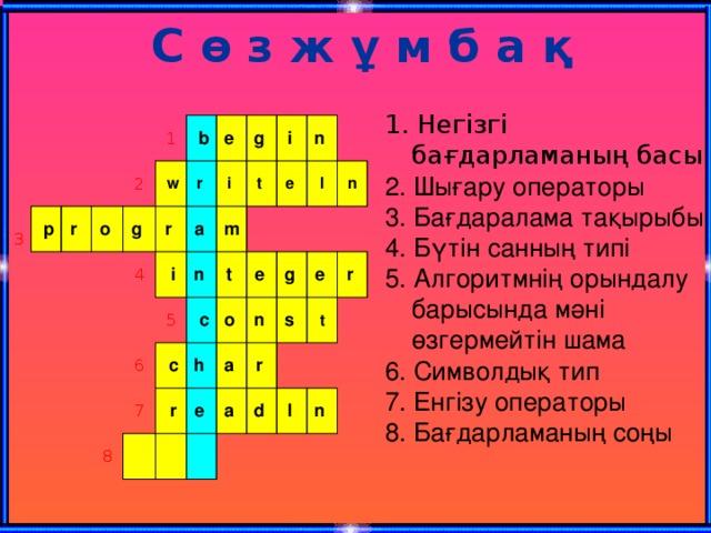 С ө з ж ұ м б а қ 1. Негізгі бағдарламаның басы 2. Шығару операторы 3. Бағдаралама тақырыбы 4. Бүтін санның типі 5. Алгоритмнің орындалу барысында мәні өзгермейтін шама 6. Символдық тип 7. Енгізу операторы 8. Бағдарламаның соңы 3  p r o 1 2 g  w  b r e 4 r g a  i i i 5 m 6 t n t e 8 7  c  c n o  r h l e e n n g a a s r e r d t l n