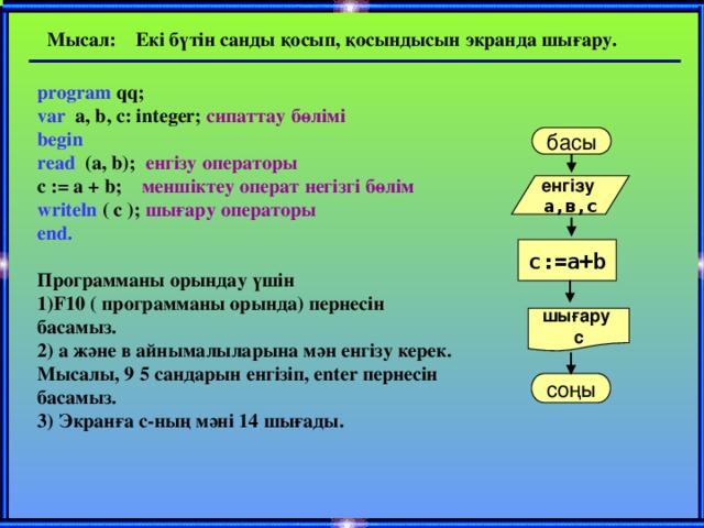 Мысал: Екі бүтін санды қосып, қосындысын экранда шығару. program qq;  var a, b, c: integer; сипаттау бөлімі  begin  read (a, b); енгізу операторы   c := a + b; меншіктеу операт негізгі бөлім   writeln ( c ); шығару операторы  end.    Программаны орындау үшін  1)F10 ( программаны орында) пернесін басамыз.  2) а және в айнымалыларына мән енгізу керек. Мысалы, 9 5 сандарын енгізіп, enter пернесін басамыз.  3) Экранға с-ның мәні 14 шығады.   басы енгізу а,в,с с:=а+b шығару с соңы
