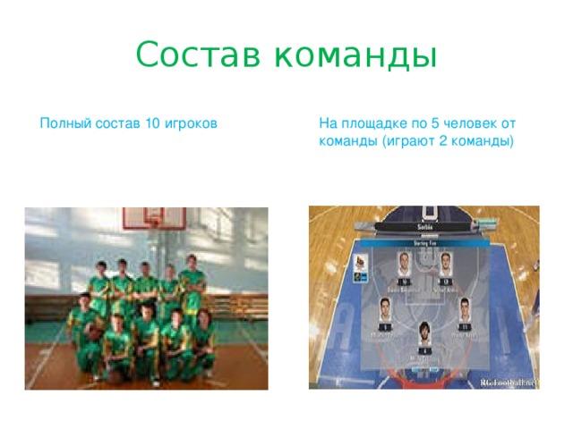 Состав команды Полный состав 10 игроков На площадке по 5 человек от команды (играют 2 команды)