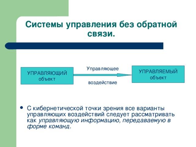 Системы управления без обратной связи. Управляющее УПРАВЛЯЕМЫЙ  объект УПРАВЛЯЮЩИЙ  объект воздействие