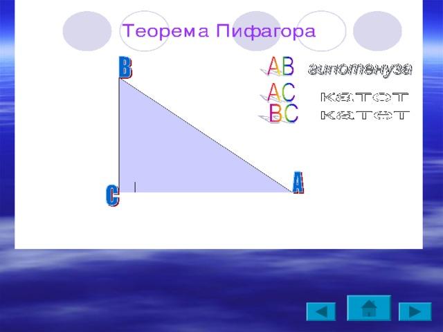 Теорема Пифагора Площадь квадрата, построенного на гипотенузера, равна сумме площадей квадратов, построенных на катетах.  (Пифагоровы штаны во все стороны равны) Теорема. В прямоугольном треугольнике квадрат гипотенузы равен сумме квадратов его катетов.