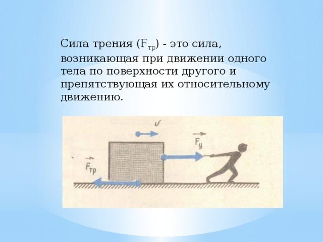 Сила трения ( F тр ) - это сила, возникающая при движении одного тела по поверхности другого и препятствующая их относительному движению.
