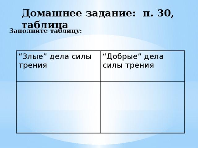 """Домашнее задание: п. 30, таблица  Заполните таблицу:   """" Злые"""" дела силы трения """" Добрые"""" дела силы трения"""