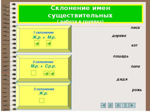 Склонение имен существительных ( работа в группах) лиса 1 склонение 1 склонение Ж.р. + М.р.  дерево -а -я кот лошадь 2 склонение 2 склонение М.р. + Ср.р.  поле  -е -о  дядя 3 склонение Ж.р.  3 склонение рожь