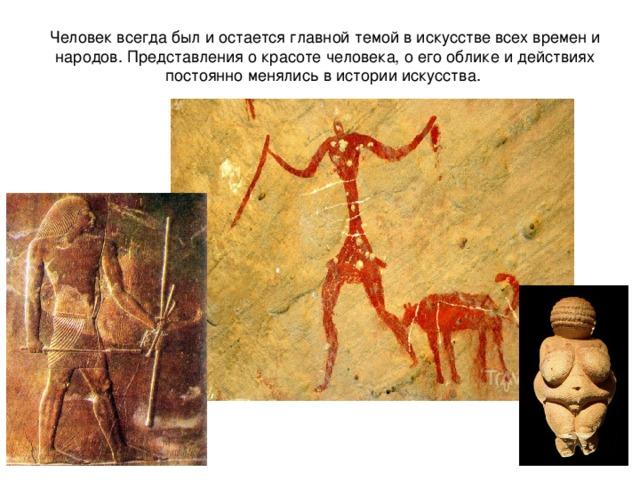 Человек всегда был и остается главной темой в искусстве всех времен и народов. Представления о красоте человека, о его облике и действиях постоянно менялись в истории искусства.